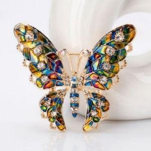 Butterfly Lapel Brooch Pin Rhinestone New
